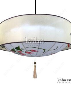Đèn vải đĩa bay vòng trụ vẽ hoa KH-DTR054