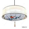 Đèn vải đĩa bay vòng trụ vẽ hoa KH-DTR061