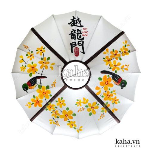 Đèn vải đĩa bay vẽ hoa KH-DTR058