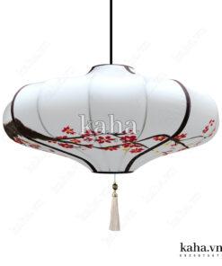 Đèn vải đĩa bay vẽ hoa KH-DTR059