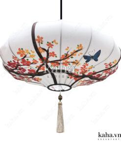 Đèn vải đĩa bay vẽ hoa KH-DTR051