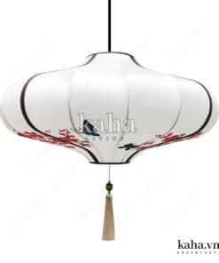 Đèn vải đĩa bay vẽ hoa KH-DTR057