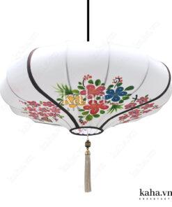 Đèn vải đĩa bay vẽ hoa KH-DTR053