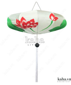 Đèn vải đĩa bay vẽ hoa KH-DTR064