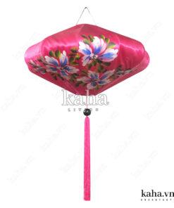 Đèn vải đĩa bay vẽ hoa KH-DTR065