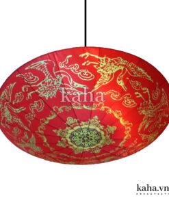Đèn vải đĩa bay vẽ hạc KH-DTR013